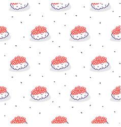 Sushi caviar seamless pattern vector