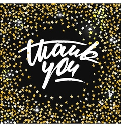 Thank you card with scattered shiny golden stars vector