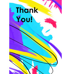 thank you note with paint smears poster template vector image