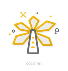Thin line icons Coconut vector image