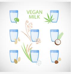 vegan milk flat icon set vector image