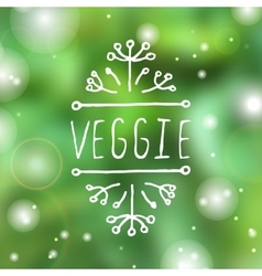 Veggie product label on blurred background vector