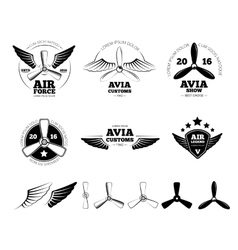 Vintage airplane labels emblems and vector
