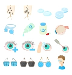 Vision correction icons set cartoon style vector