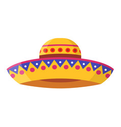 wide-brimmed colorful sombrero flat vector image