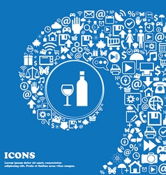 Wine Icon sign Nice set of beautiful icons twisted vector