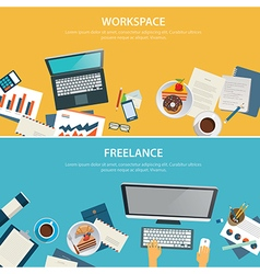 Workspace and freelance banner flat design vector