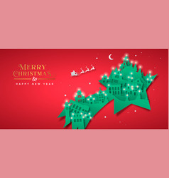 year paper cut star winter city vector image