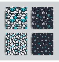 decorative seamless patterns set vector image