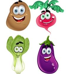 Funny cartoon cute vegetables lettuce radishes vector image