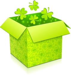 Green gift box with clovers inside vector image vector image