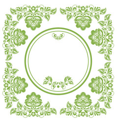 greenery ecology russian floral frame background vector image