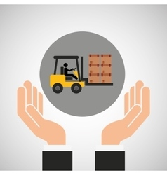 hand delivery service forklift truck boxes graphic vector image