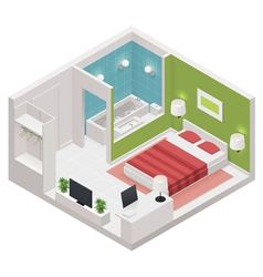 isometric hotel room icon vector image