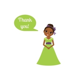 Princess with speech bubble Thank you vector image vector image