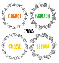 set frames carrot broccoli lemon cheese vector image vector image