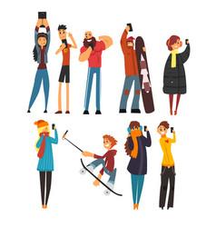 different happy people taking selfie photo cartoon vector image vector image