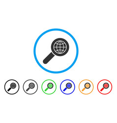 search globe place rounded icon vector image vector image