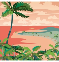 Sunset Tropic Beach with Palm trees vector image vector image