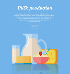 traditional dairy products from milk vector image vector image