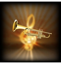 trumpet on a blurred background treble clef vector image