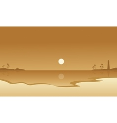 Beach and moon landscape of silhouettes vector