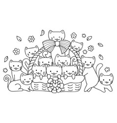 hand drawn cute cats in basket for design element vector image