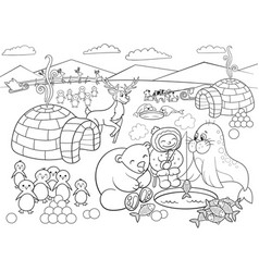 kids coloring north pole vector image
