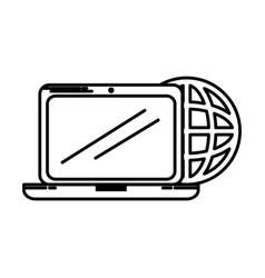 laptop computer with planet vector image