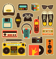 old style equipments accessories and vector image