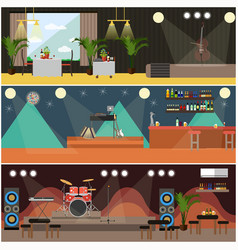 set of night club concerts flat posters vector image vector image