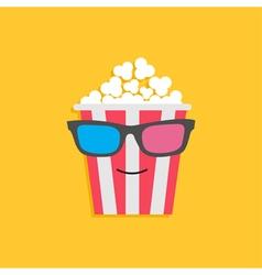Big popcorn box face in 3D glasses Cinema icon vector image vector image