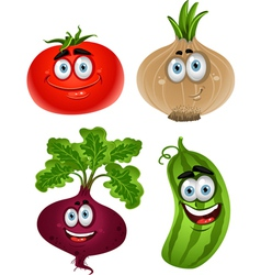 Funny cartoon cute vegetables tomato beet cucumber vector image
