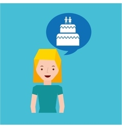 Girl cartoon wedding cake dessert icon vector
