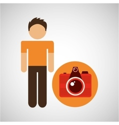 male character traveler photo camera vector image