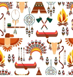 Seamless Pattern American Tribal Native Symbols vector image