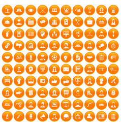 100 team work icons set orange vector