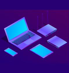 3d isometric laptop router with wi-fi vector image