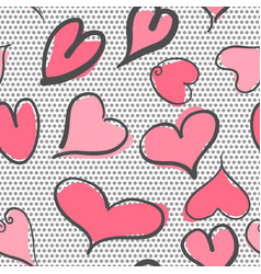 abstract seamless pattern with hearts and polka vector image