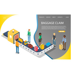 Airport baggage claim website landing page vector