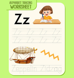 Alphabet tracing worksheet with letter z and z vector
