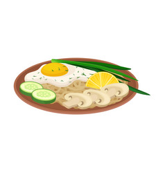 Appetizing thai food noodle with scrambled egg vector