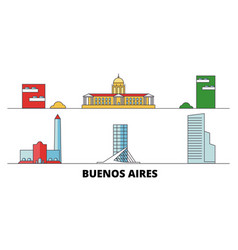 Argentina buenos aires city flat landmarks vector