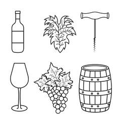 Best wine set icons vector