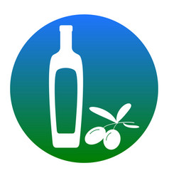 Black olives branch with olive oil bottle sign vector
