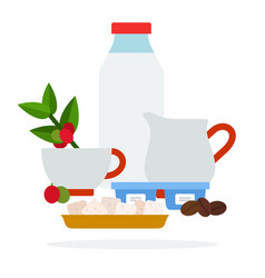 Bottle milk jug cream and sugar cubes flat vector