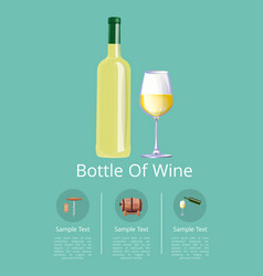 Bottle of white wine and glass on promo poster vector