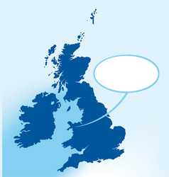 Britain map in map with bubble talk where i am vector