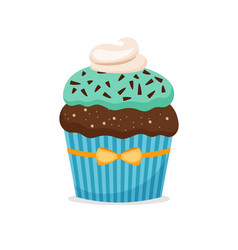 Brownie cupcake with blue frosting vector