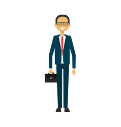 businessman with suitcase business man full vector image